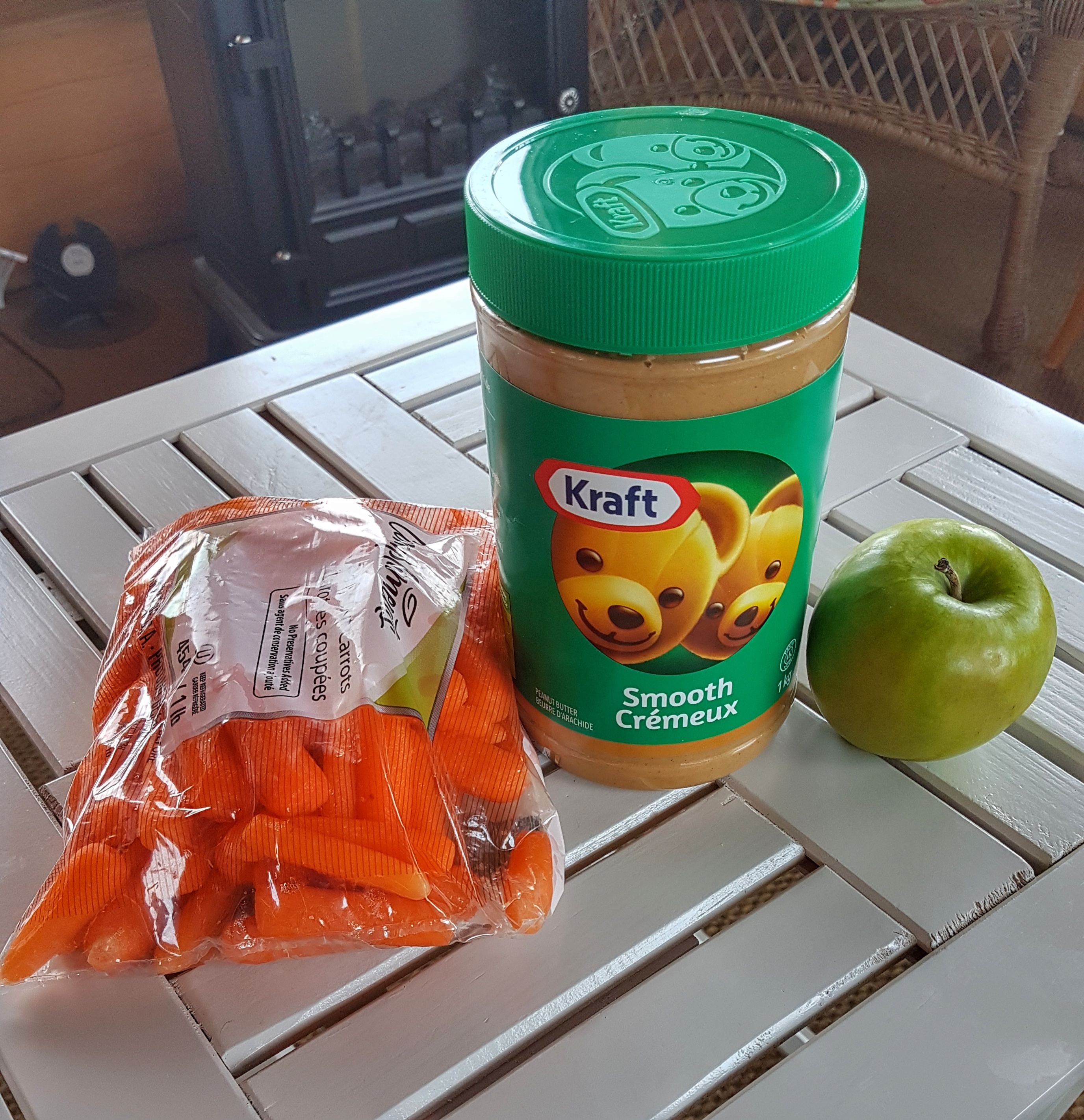 Peanut butter and veggies
