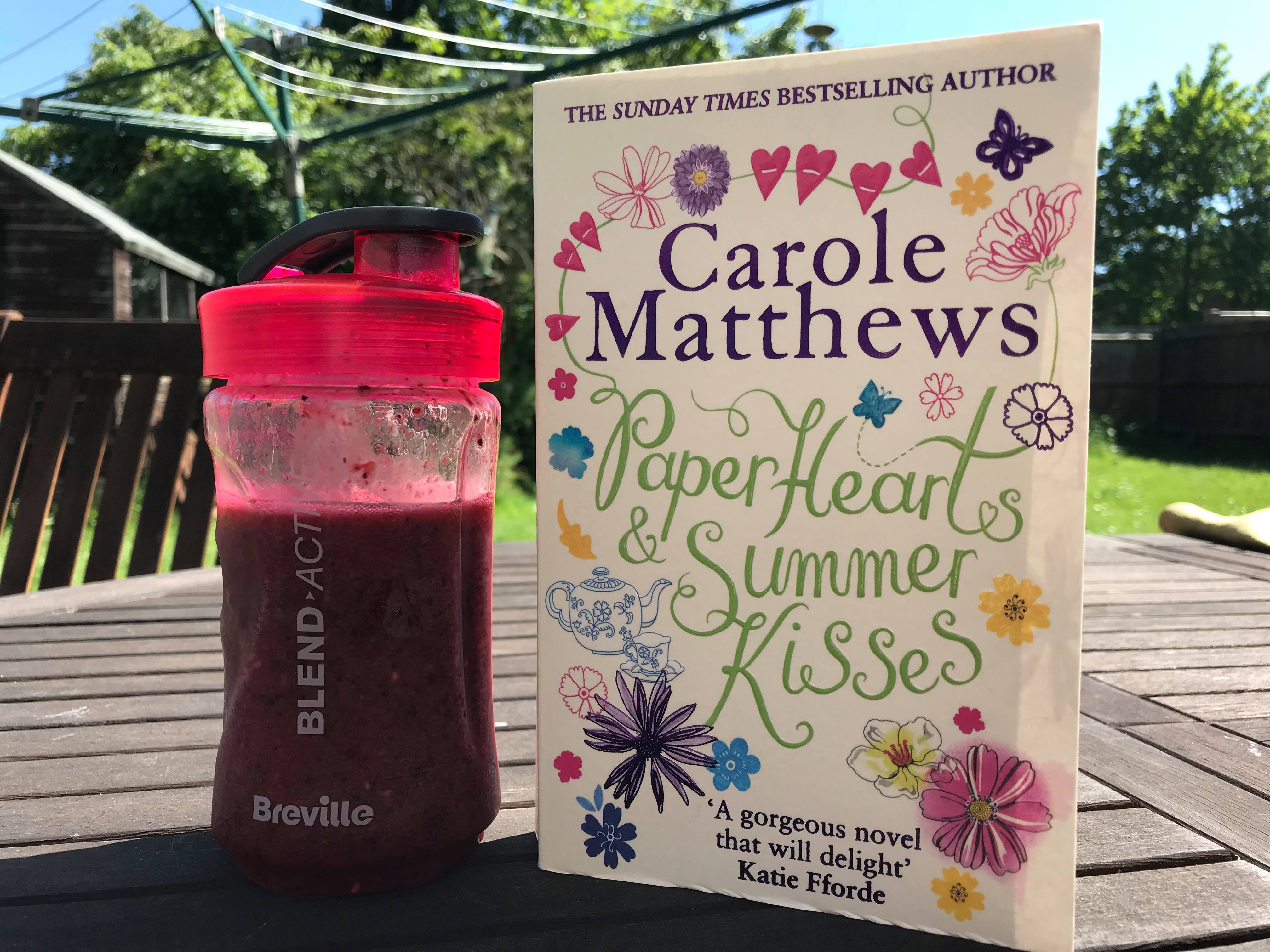 Carole Matthews' Paper Hearts and Summer Kisses with smoothie