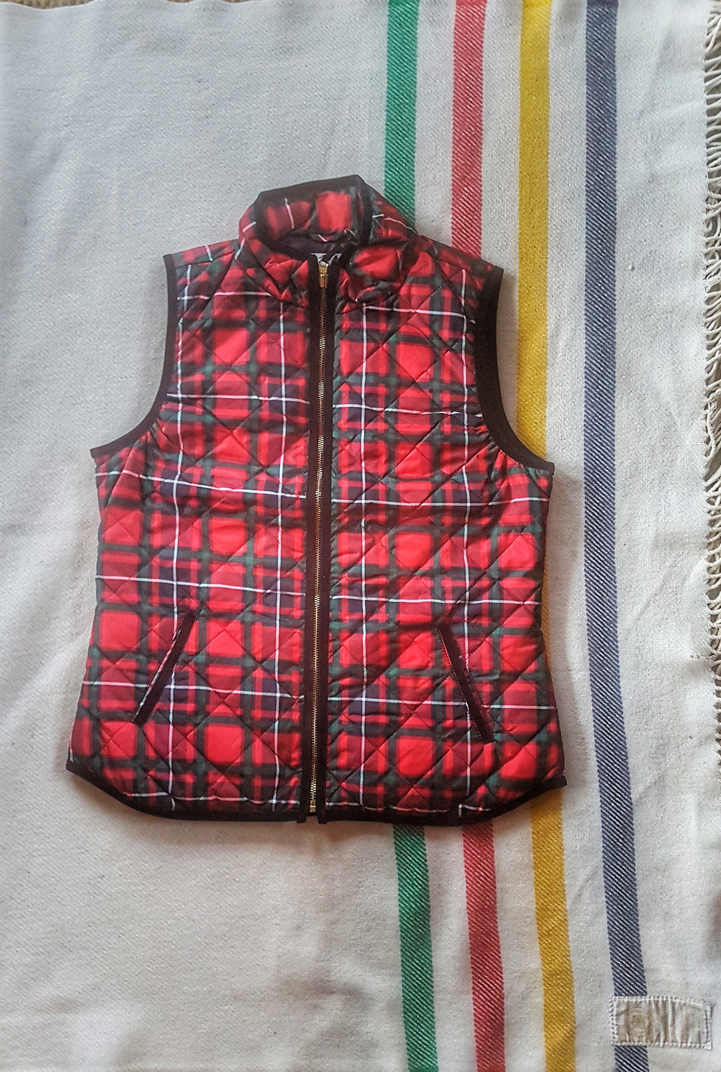 Old Navy Red Plaid Vest