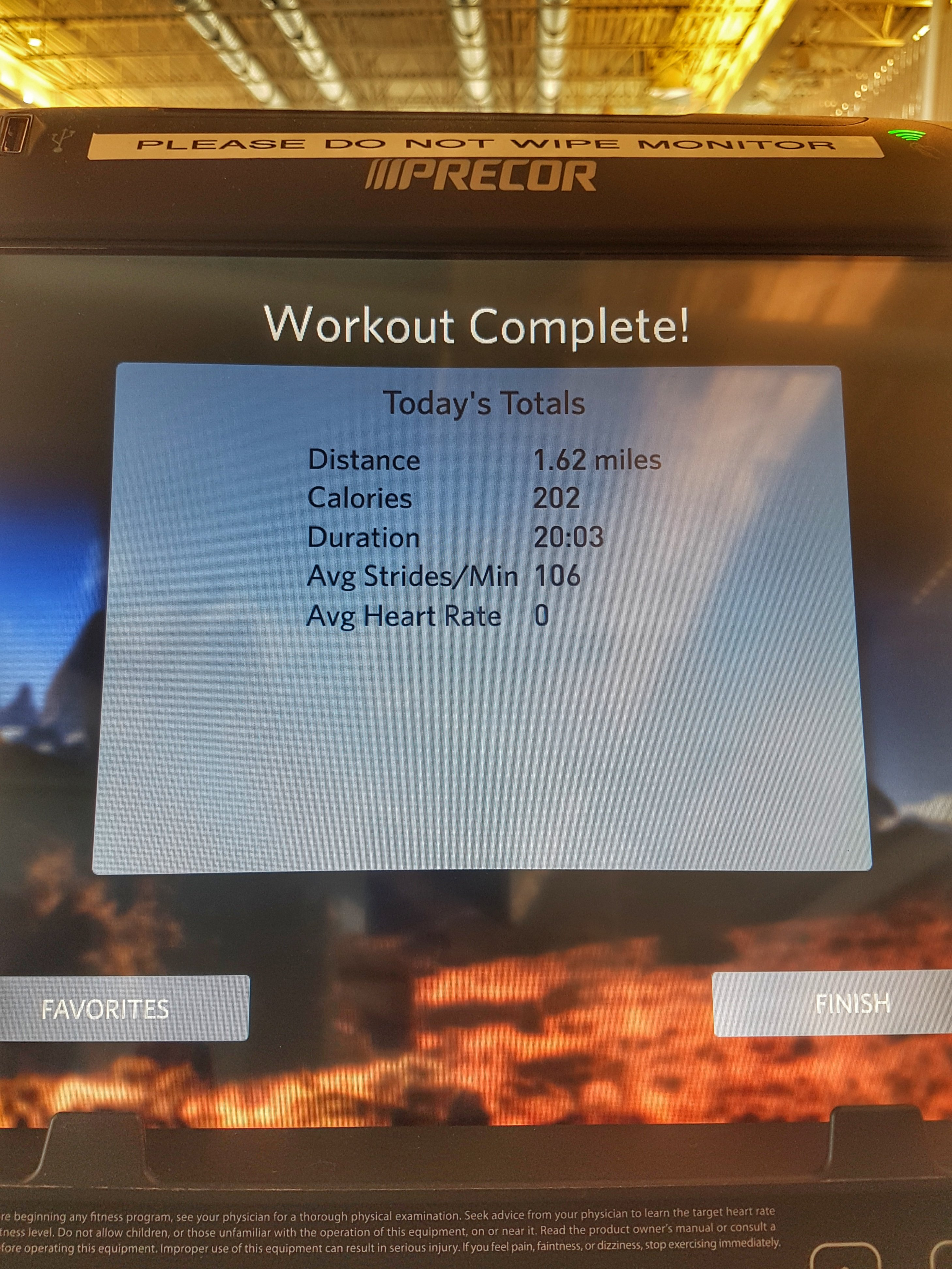 Elliptical Workout Results